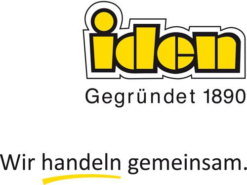 """Logo der Unternehmensgruppe Iden mit dem Claim """"Wir handeln gemeinsam."""""""