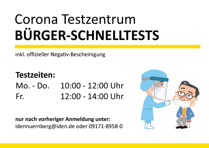 Hinweis Testzentrum Nuernberg